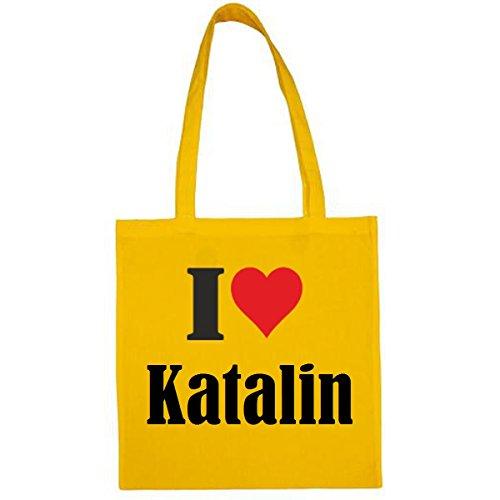 Tasche I Love Katalin Größe 38x42 Farbe Gelb Druck Schwarz