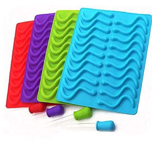 Ruluti 20 Cavidad Silicona Gummy Snake Worms Molde de Chocolate Azúcar Candy Moldes Jalea Moldes Bandeja de Hielo Molde Hornear Pastel Decoración Herramientas Aleatorio Color