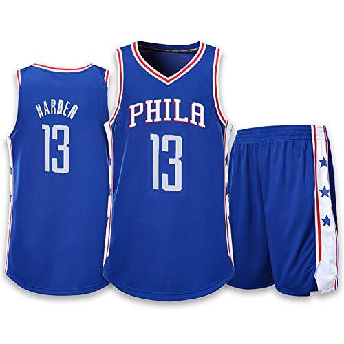 EARAID Traje de Baloncesto de 76ers, Uniforme de competición de Entrenamiento de Hombres, Jersey Deportivo, 100% poliéster Camiseta sin Mangas Transpirable Blue-L
