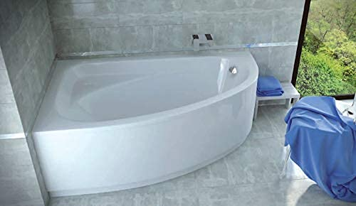ECOLAM Badewanne Eckbadewanne Acryl Cornea weiß 140x80 cm LINKS + Schürze Ablaufgarnitur Ab- und Überlauf Automatik Füße Silikon Komplett-Set