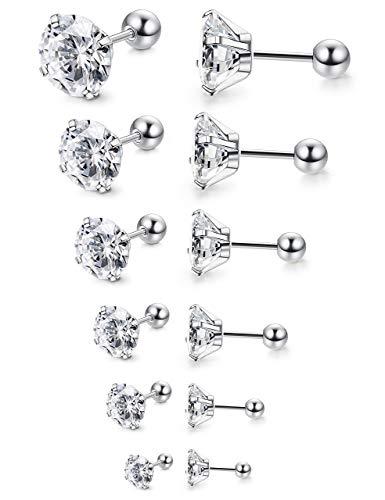 Milacolato 6 Pairs 18G Acciaio inossidabile Mens Womens Stud orecchini Cartilagin Ear Piercing Helix Tragus Barbell CZ 3-8mm