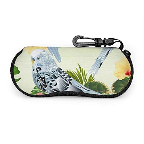 Brillenetui, nahtlose Textur, Vögel, Wellensittiche, tragbar, mit Schloss