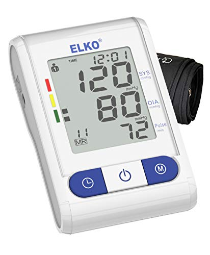 ELKO EL-510 FDA Approved Upper Arm Fully Automatic Digital BP Machine Blood Pressure Monitor with Smart Inflation Technology (White/Blue)