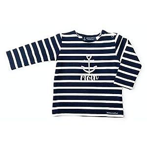 Baby Shirt Moin – dunkelblau weiß gestreift – Bretonisches Baby Shirt maritim mit Anker, Breton Shirt Baby Moin von…