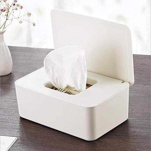 Yllang Almacenamiento de Papel de Tejido húmedo Sello de Escritorio Caja de toallitas húmedas Caja hogar de Materiales plásticos a Prueba de Polvo Caja de pañuelos