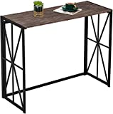 Console Sofa Table for Entryway No Assembly Folding Bar TV Table Hallway Small Side Table for Living Room Industrial Tall Wall Entry Table Wood Laptop Table with Metal Frame 40 inch, Rustic Brown