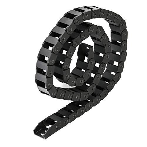 Cadena de Arrastre de Nailon Negro 10X20 Mm Cadena de TransmisióN de PláStico Transportador de Cables Transportador de Cables, Para Rodear Y Guiar La MáQuina Cables De Impresora 3D -Longitud 1M