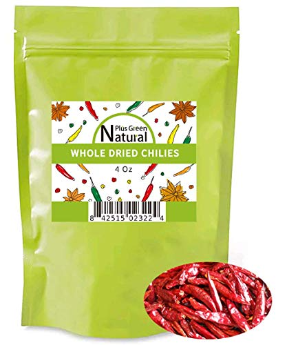 Dried Sichuan Chili Peppers Whole 4 Ounces, Mild, Used in Mexican, Chinese, Thai Dishes, Premium Szechuan Dried Red Chilies for Chili Oil, Paste, and Sauce