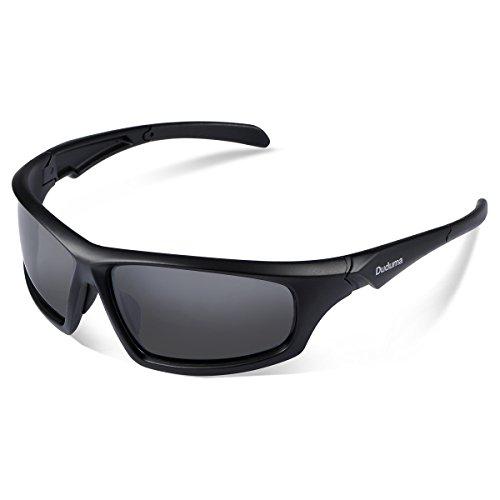 Duduma Gafas de Sol Deportivas Polarizadas Para Hombre Perfectas Para Esquiar Golf Correr Ciclismo TR821 Súper Liviana Para Hombre y Para Mujer (639 marco mate negro con lente verde)