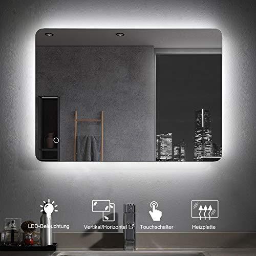 MIQU Badezimmerspiegel 70x50cm LED Badspiegel mit Beleuchtung kaltweiß Lichtspiegel Wandspiegel mit Touch-Schalter beschlagfrei IP44 energiesparend MIB