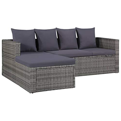 vidaXL Gartensofa 14-TLG. Poly Rattan Grau Lounge Sitzgruppe Sofa Gartenmöbel - 2