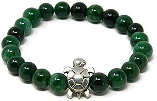 Bracciale elastico con palline di agata verde striata e tartaruga