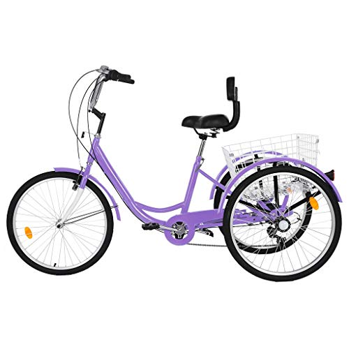 Adult Tricycles 7 Speed, Adult Trikes, Three Wheel Cruiser Bike Bicycle with 24-Inch Wheels and Large Shopping Basket for Women, Seniors, Men (Purple)