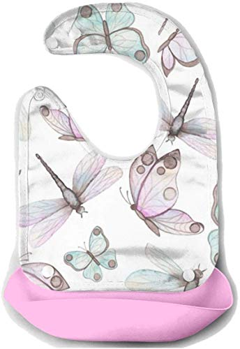 Wunderschöne Schmetterlingsfutter Lätzchen für Jungen Mädchen Kleinkinder-Drool Lätzchen mit wasserdichter Silikontasche,verstellbare Knöpfe