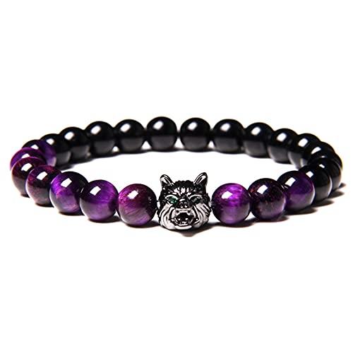 Wolf Head Bracelet, Save A Wolf Bracelet, Tiger Eye Bracelet, Natural Tiger Eye Bracelet Men (Purple)