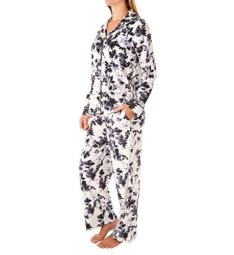 Donna Karan Sleepwear Women's Stretch Velour Signature PJ Set D3923314 2X Cream Floral