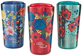 The Pioneer Woman 18oz Stainless Steel Floral Tumblers – Set of 3 (Red, Navy and Teal)