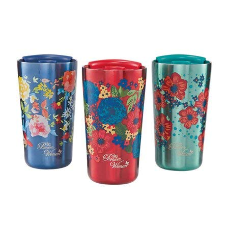 The Pioneer Woman 18oz Stainless Steel Floral Tumblers - Set of 3 (Red, Navy and Teal)