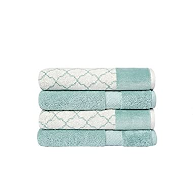 LOFT by Loftex Lattice/Solid 4 Piece Bath Towel Set, Aqua