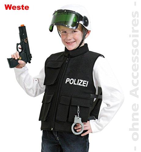 Markenlos–Die Polizei Taktische Weste, schwarz (lateral. Klettverschluss) Größe 152