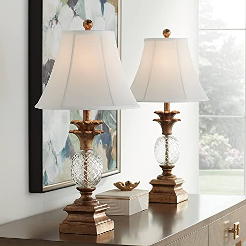 Kona Traditional Tropical Table Lamps Set of 2 with USB Charging Port Pineapple Bronzed Brass Glass White Fabric Bell Shades for Living Room Bedroom House Nightstand Home Office - Regency Hill