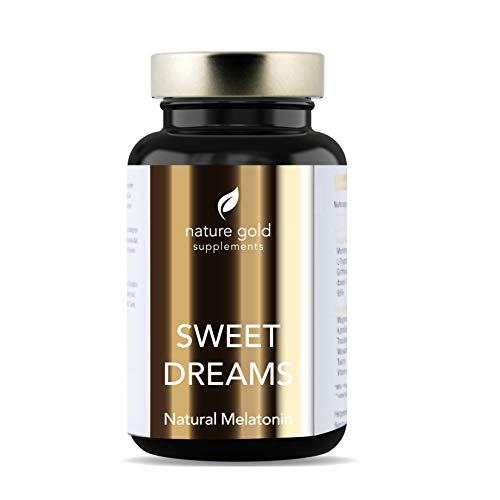 SWEET DREAMS Einschlafhilfe - Natürliches Melatonin - Komplex aus Montmorency Sauerkirsche, L-Tryptophan, 5-HTP, Kamille, Magnesium, Biotin - hergestellt in Deutschland