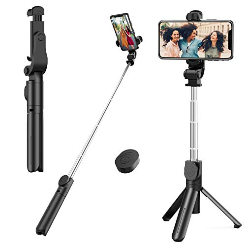 Selfie Stick Tripod, Mini Extendable Tripod Stand Phone Selfie Stick with Wireless Remote Shutter for Smart Phones