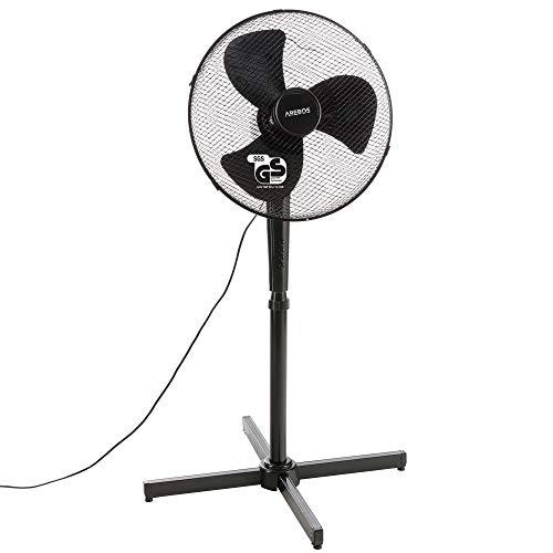 Arebos Ventilador de pie | 45 vatios | 80° de oscilación | 3 niveles de velocidad | ajustable en altura hasta 122 cm | inclinable hasta 30° | silencioso | negro