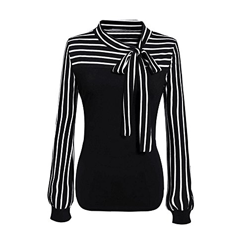 OVERDOSE Frauen Tie-Bow Neck Striped Langarm Spleiß Shirt Bluse Damen Frühling Sommer Hemd T-Shirt Oberteil (L, A-Black)