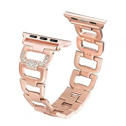 Correa de pulsera para Apple Watch, correa de reloj de metal de acero inoxidable con diamantes de imitación para iWatch Series SE / 6/5/4/3-oro rosa, 38 mm o 40 mm