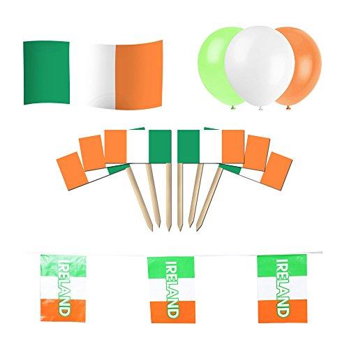 Irland/Irische Party Set: 12m von Flagge Wimpelkette + 5ft x 3ft Flagge + 15Luftballons + Cocktail Picks