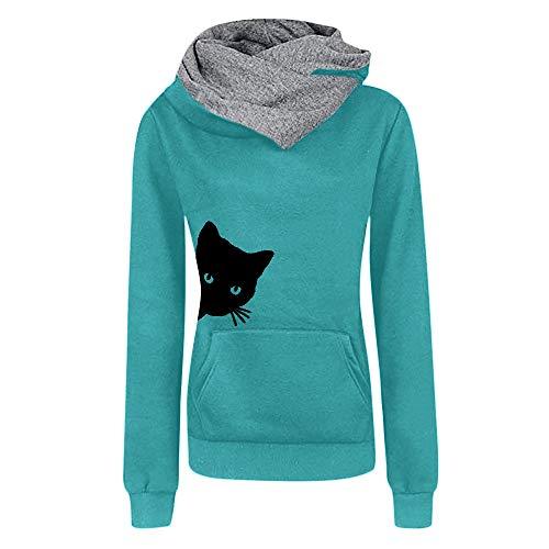 VECDY Damen Pullover, Räumungsverkauf- Herbst Frauen Tops Hoodie Lässige Katze Druckärmel Pullover Shirts Tops Bluse Sweatshirt Oberteile