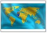 Kühlschrankmagnet, Motiv: Guinea-Bissau-Zeichen auf der Weltkarte, Guinea-Bissau-Flagge