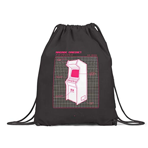 BLAK TEE Vintage Arcade Gaming Machine Organic Cotton Drawstring Gym Bag Black