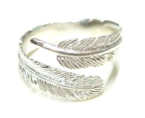 Silberring, Band Ring offen, Motiv Seelenfeder, aus 925 Sterling Silber filigran gearbeitet, Größe 58-18,5 offen variabel, Indianer Schmuck, Geschenk für Frauen