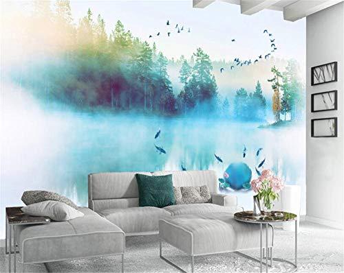 Pink world Wandbild 3D Tinte Öl Goldfisch Flying Bird Moderne abstrakte Kunst Wandmalerei-Über 350 * 245 cm