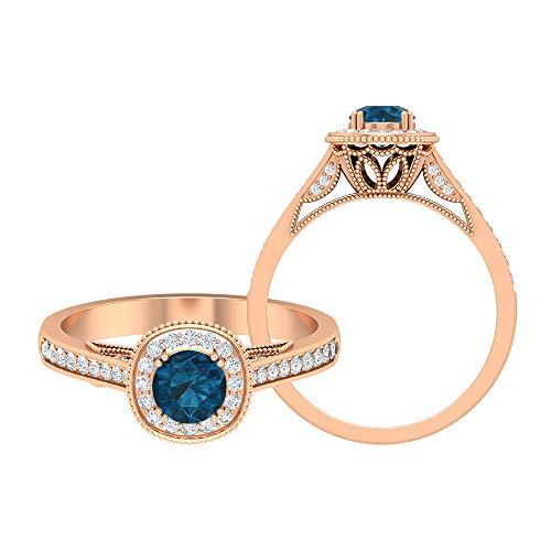 Rosec Jewels 14 quilates oro rosa redonda round-brilliant-shape H-I Blue Diamond Topacio azul - Londres