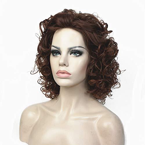 Der Perruque Synthétique Blonde Mix Shotr Bouclées Naturelles Coiffures Moelleuses Cheveux Capless Perruques (Color : Auburn1045 33 30, Stretched Leng