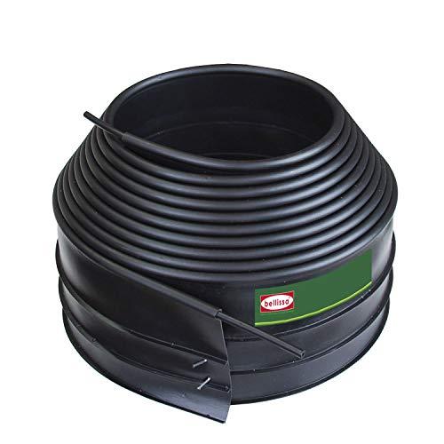 bellissa Rasenkante Econo aus Kunststoff - 99662 - Schwarz mit Rand - inkl. Verbindungsteile, 610 x 10 cm