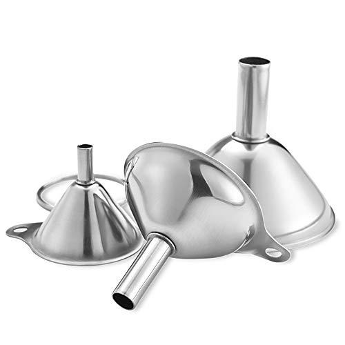 inherited 3pcs Entonnoir Cuisine, Entonnoir en Acier Inoxydable, Entonnoirs de Cuisine en Acier Inoxydable avec poignées,pour Cuisson,Transfert de Liquide,d'huiles (7.5cm,5.5cm,4.5cm)