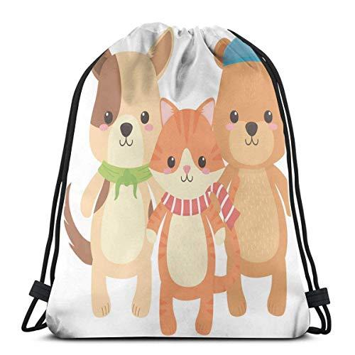 Mochila con Cordón,Bolsa De Cuerdas,Cat Dog Bear Family Cartoon Cinch Sackpack,Entrenamiento Gymsack,Pull String Bag para Viajar,Yoga,Compras,Escuela,Entrenamiento
