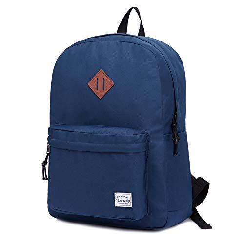Schulrucksack, VASCHY Wasserabweisender Klassischer Schultasche für Hochschule Teenager Mädchen Jungen Casual Rucksack für Reise, Sport, Wandern Marine Blau