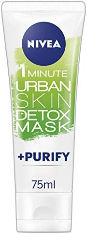 NIVEA Daily Essentials 1 Minute Urban Detox Mask + Purify (75ml), White Clay Purifying Face Mask with Magnolia Extract, Exfoliating Face Mask
