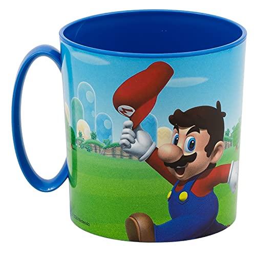 Tazza Bicchiere in plastica 350ml per Microonde con manico Bambini colazione BPA-free (Super Mario...