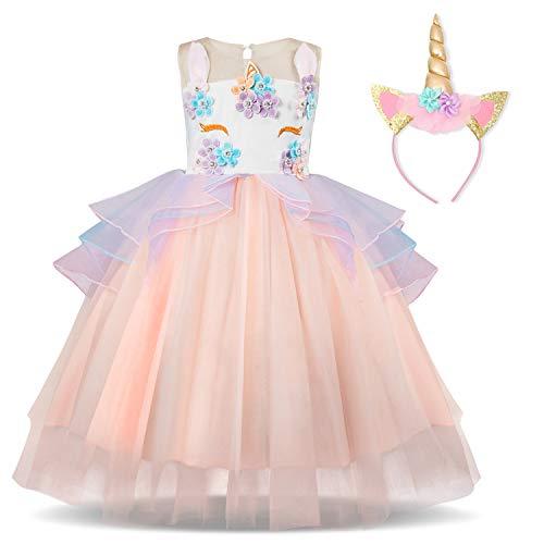TTYAOVO Flower Girls Unicorn Costume Kids Pageant Princess Party Dress with Unicorn Headband Size 5-6 Years Pink