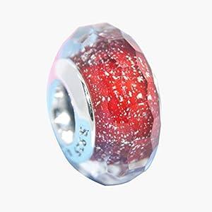 YXDS Accesorio de Pulsera Plata de Ley 925 Corazón Rosa Cuentas de Cristal de Murano Se Ajustan a los encantos Originales Accesorio de joyería de Pulsera
