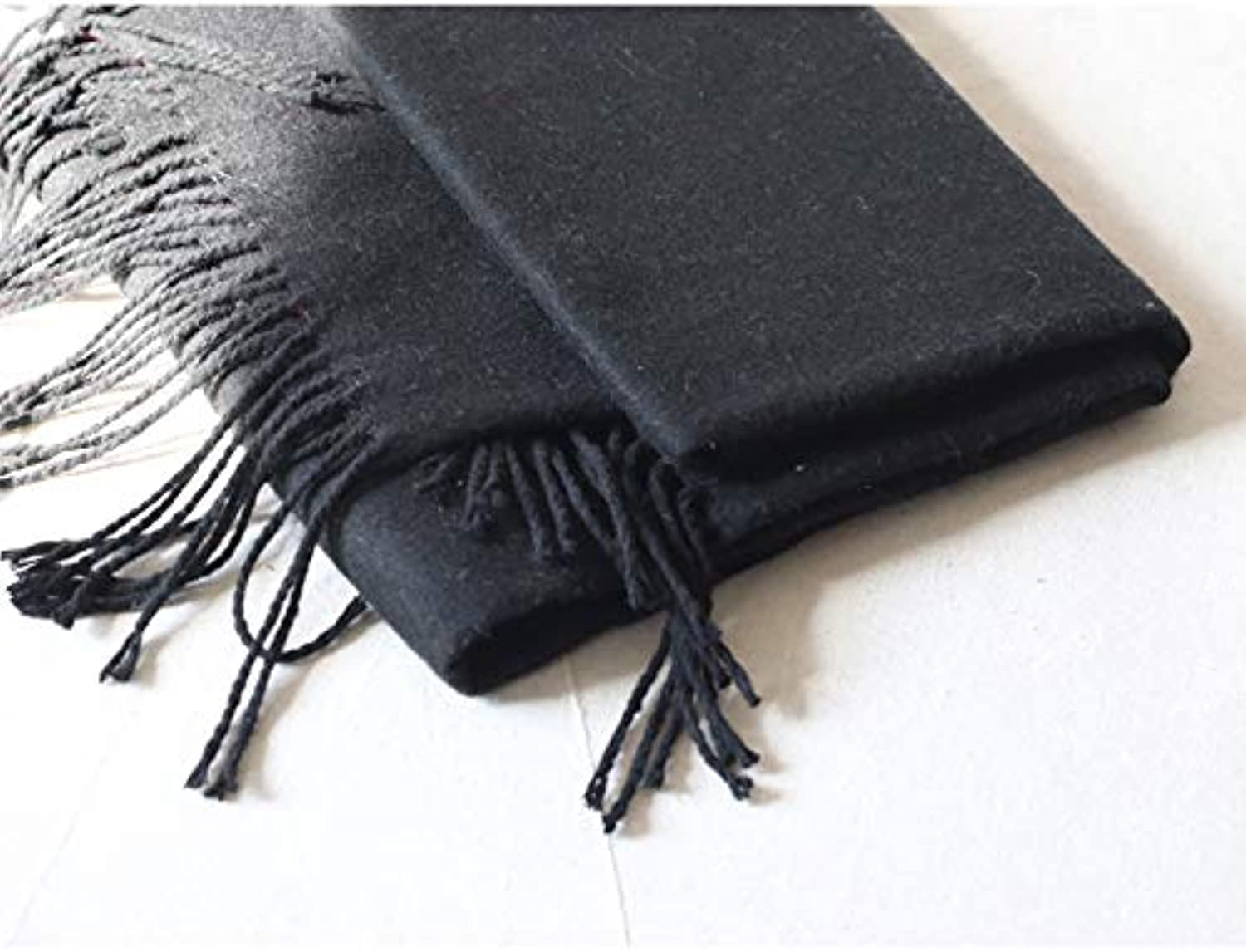 JINGB Home Scarf Female Shawl Long Tassel Solid color Men and Women Thick Warm Scarf Scarf (color   Black)