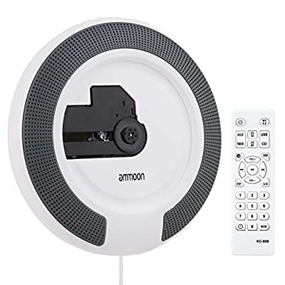ammoon Portable Wall Mountable CD Player Supports CD/USB/AUX/BT Inputs FM Radio Alarm Clock Built-in Dual 5W Speakers LED Display with Remote Control 3.5mm Audio Cable Wall-mount Plate