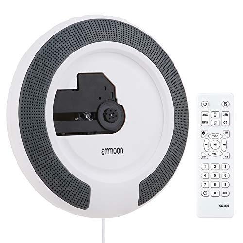 Tragbarer CD-Player, ammoon Tragbare Wandhalterung Unterstützt CD/USB/AUX/BT-Eingänge FM-Radio Eingebautes LED-Display mit Zwei 5-W-Lautsprechern und 3,5-mm-Fernbedienungskabel für Heimdekoration