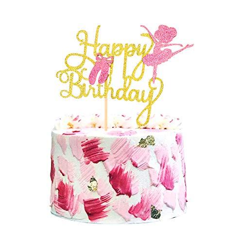 Unimall Global 1Pack Gold Glitter Ballerina Geburtstagstorte Topper Ballettkuchen Dekoration Rosa Ballettschuhe Süße Tänzerin Baby Mädchen Geburtstagsfeierzubehör